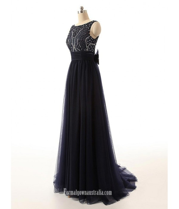 Simple Beading Scoop Open-back Ribbon Black Long Prom Dresses, Evening Dresses New Arrival