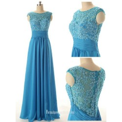 Elegant Scoop Long Beading Chiffon Prom Dresses, Evening Dresses