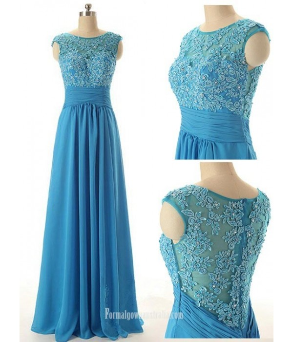 Elegant Scoop Long Beading Chiffon Prom Dresses, Evening Dresses New Arrival