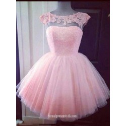 Simple Dress Ball Gowns Beading Scoop Pink Short Tulle Prom Dresses Homecoming Dresses