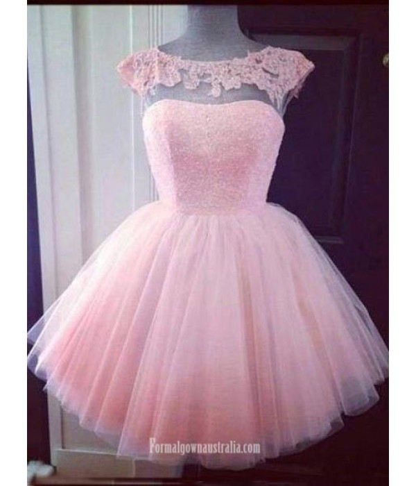 Simple Dress Ball-gowns Beading Scoop Pink Short Tulle Prom Dresses/Homecoming Dresses New Arrival
