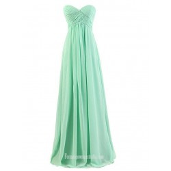 Floor Length Green Chiffon Zipper Back Column Strapless Bridesmaid Dress