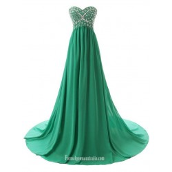Simple Dress Handmade Beading  Long A-line Green Chiffon Prom Dresses/Evening Dresses