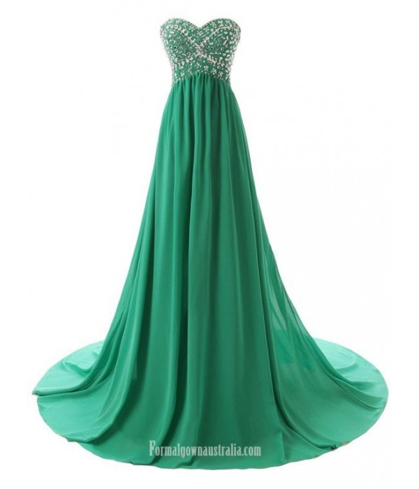 Simple Dress Handmade Beading Long A-line Green Chiffon Prom Dresses/Evening Dresses New Arrival
