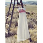 Simple Dress Handmade A-line Spaghetti Handmade Flowers Chiffon Long Prom Dresses/Evening Dresses New Arrival