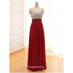 Pretty High Quality Beadings Wine Red Prom Dresses