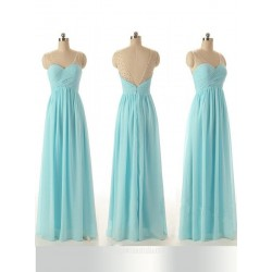 Elehant Floor Length Blue Chiffon Bridesmaid Dress A Ling With Beading Party Dress