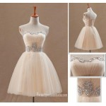 Simple Mini Chiffon Column Strapless Evening Dress With Beading New Arrival