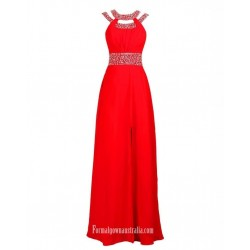 Floor Length Sexy Side Split Red With Beading Sleeceless Formal Evening Dress