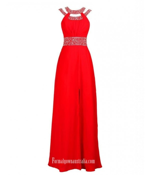Floor Length Sexy Side Split Red With Beading Sleeceless Formal Dress Evening Gowns New Arrival