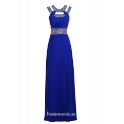 Floor Length Sexy Side Split  With Beading Sleeceless Formal Dress Evening Dress