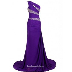 Mermaid Trumpet One Shoulder Rhinestone Formal Dress Prom Dress