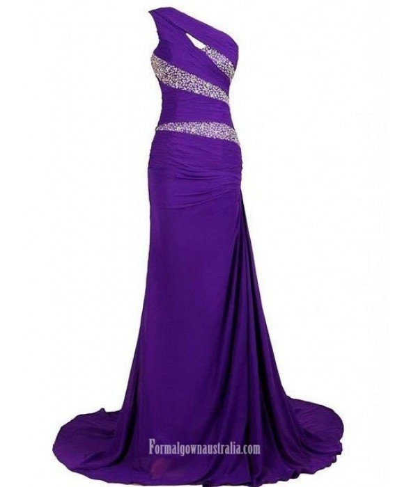Mermaid/Trumpet One Shoulder Rhinestone Formal Dress Prom Dress New Arrival