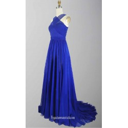 A Line Blue Tulle Sweepbrush Train Cross Strap Cut Out Back Formal Dress Prom Party Dress