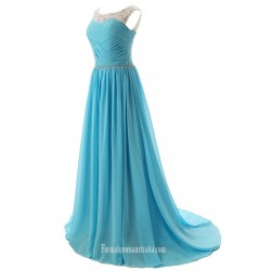 A-Line Boat Neck With Beading SweepBrush Train Jade Chiffon Formal Dress Party Dress