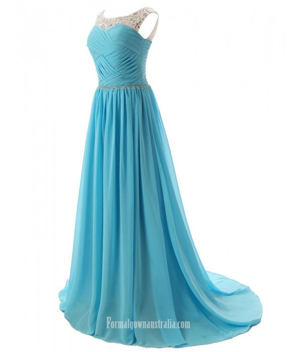 A-Line Boat Neck With Beading SweepBrush Train Jade Chiffon Formal Dress Party Dress New Arrival