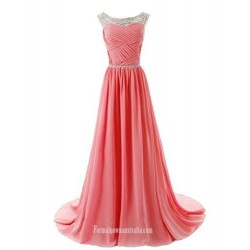 A-line Beaded Straps Bridesmaid Formal Prom Dress with Sparkling Embellished Waist