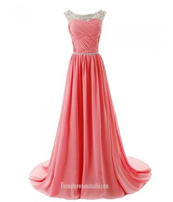 A-line Beaded Straps Bridesmaid Formal Dress Prom Dress with Sparkling Embellished Waist New Arrival