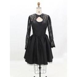 Black Taffeta Long Sleeve Short Formal Dress Prom Dresses Homecoming Dresses