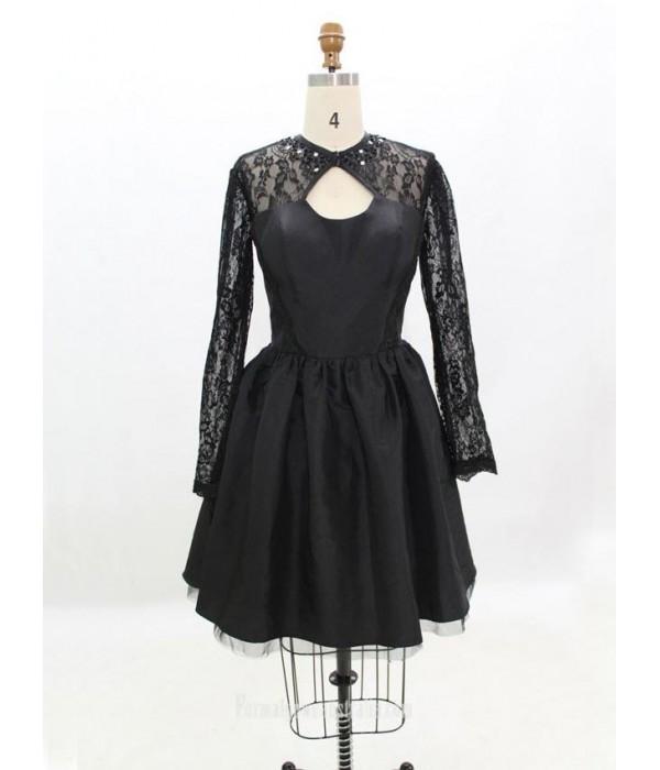 Black Taffeta Long-sleeve Short Formal Dress Prom Dresses/Homecoming Dresses New Arrival