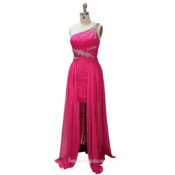 A-line One Shoulder Floor Length Chiffon Beaded Formal Dress Prom Dress