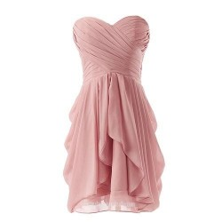 Asymmetrical Short Chiffon Bridesmaid Dress Sweetheart Formal Homecoming Dance Gown