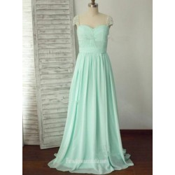 A Ling Floor Length Mint Beaded Sleeves Chiffon Formal Dress Prom Dress Queen Anne Fromal Dress