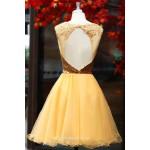 A Line Dresses Gold Organza Sleeveless Hollow Back Zipper Short Formal Cocktail Dress New Arrival