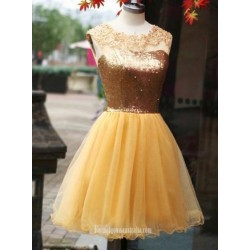 A Line Dresses Gold Organza  Sleeveless Hollow Back Zipper Short Formal Cocktail Dress