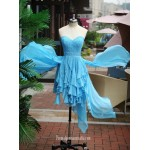 Asymmetrical Blue Chiffon Strapless Formal Party Dress With Beading/Sequins New Arrival