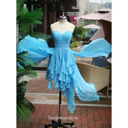 Asymmetrical Blue Chiffon  Strapless Formal Dress Party Dress With Beading/Sequins