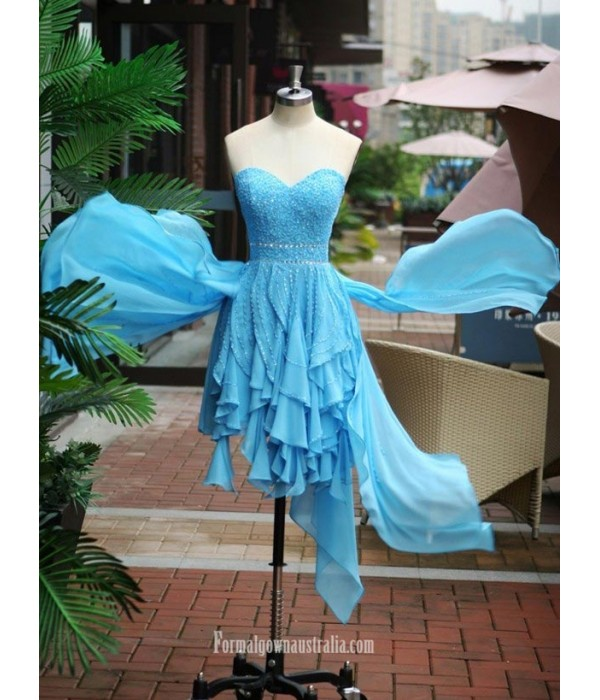 Asymmetrical Blue Chiffon Strapless Formal Dress Party Dress With Beading/Sequins New Arrival