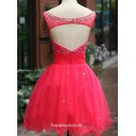 A-line Short Red Formal Dress Scoop Sleeveless Sequins Cocktail Dress New Arrival