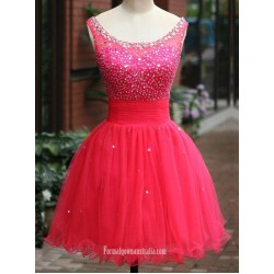 A Line Short Red Formal Dress Scoop Sleeveless Sequins Cocktail Dress