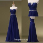 A-Ling Floor Length Blue Strapless With Beading Formal Dress Evening Gowns New Arrival