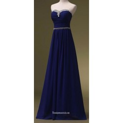 A-Ling Floor Length  Blue  Strapless With Beading Formal Evening Dress