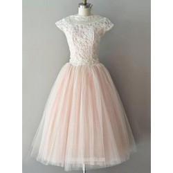Elegant Tulle Zippler Back Cap Sleeve With Lace Formal Dress Evening Dress