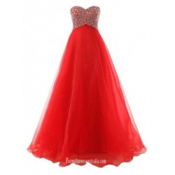 A-Line Ball Gown Sweet Floor-Length Chiffon Lace-up Red Long Formal Prom Dress With Beading