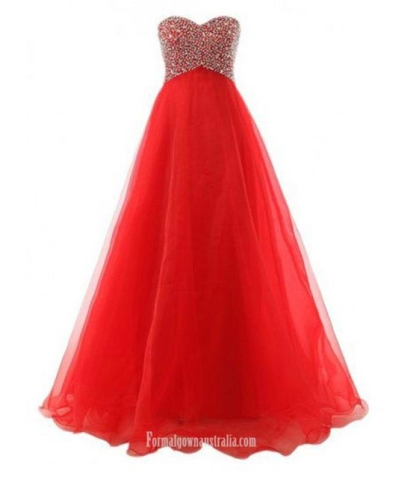 A-Line Ball Gown Sweet Floor-Length Chiffon Lace-up Red Long Formal Dress Prom Dress With Beading New Arrival