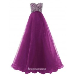 A-Line Scoop Lace Sleeveless Floor-length Tulle Formal Evening Dress