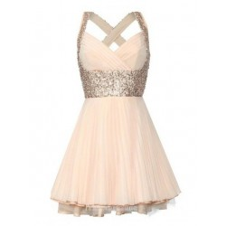 Mini Short Peach Chiffon Criss Cross Straps Formal Cocktail Dress With Sequins