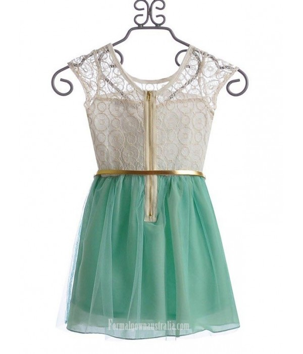 A-line Scoop Neck Organza Mini Cocktail Dress With Gold Belt New Arrival