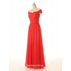 Hot Red A-line Off-the-shoulder Chiffon Long Formal Prom Dress