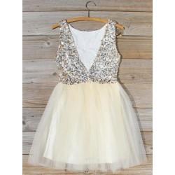 A-line V-neck Sequins Bodice Short/Mini Formal Party/Cocktail Dress