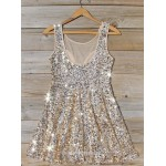 A-line Scoop Neck Sleeveless Mini Sequins Chiffon Semi Formal Dress New Arrival