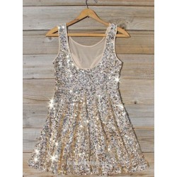 A Line Scoop Neck Sleeveless Mini Sequins Chiffon Semi Formal Dress