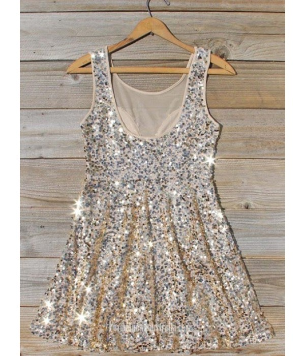 A-line Scoop Neck Sleeveless Mini Sequins Chiffon Semi Formal Dress New Arrival
