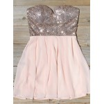 A-line Sweetheart Mini Chiffon Sequin Formal Party Dress New Arrival