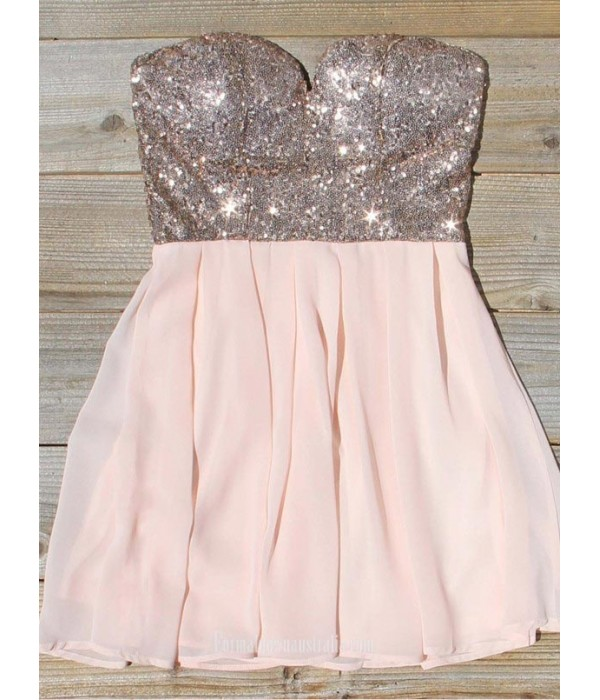 A-line Sweetheart Mini Chiffon Sequin Formal Dress Party Dress New Arrival