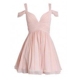 A-line Queen Anne Ruched Short Chiffon Semi Formal Dress